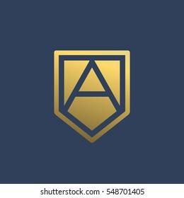 Letter A shield logo icon design template elements