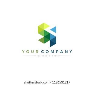 Letter SI Polygonal Triangle Logo