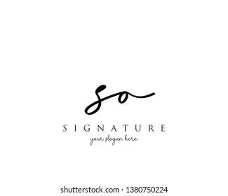 Letter SO Signature Logo Template - Vector
