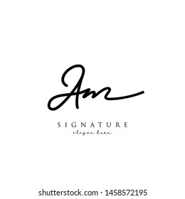 Letter AM Signature Logo Template - Vector