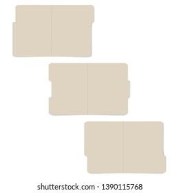 Letter size set of tabbed manila folders, vector template. Open empty file folder with cut tab, realistic mockup kit.