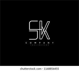 Letter SK Linked Vector Minimal Linear Lines Monogram Logo