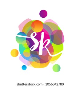 Letter SK logo with colorful splash background, letter combination logo design for creative industry, web, business and company.