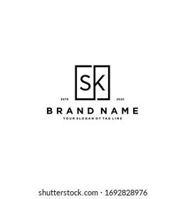 letter SK logo design vector template