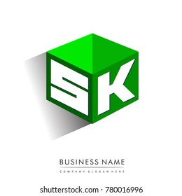 Letter SK logo in hexagon shape and green background, cube logo with letter design for company identity.