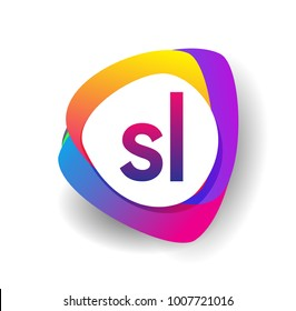 Letter SL logo with colorful splash background, letter combination logo design for creative industry, web, business and company.