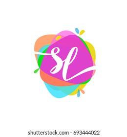 Letter SL logo with colorful splash background