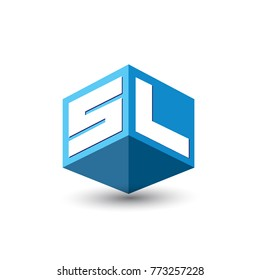 Letter SL logo in hexagon shape and blue background, cube logo with letter design for company identity.