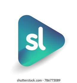 Letter SL logo in triangle shape and colorful background, letter combination logo design for business and company identity.