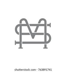 letter sm 3d line art design logo vector