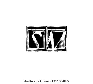 Letter SM Hand Drawn Brush Stroke Square Monogram Logo