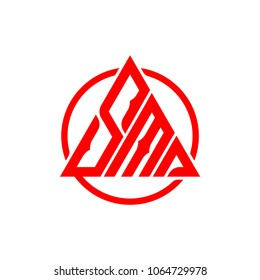 letter SMA triangle shape vector logo template