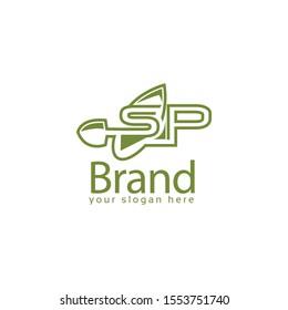 Letter SP green with shovel logo template., flat design. letter SP. Vector Illustration on white background