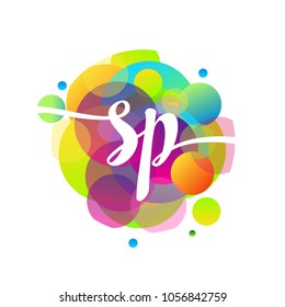 Letter SP logo with colorful splash background, letter combination logo design for creative industry, web, business and company.