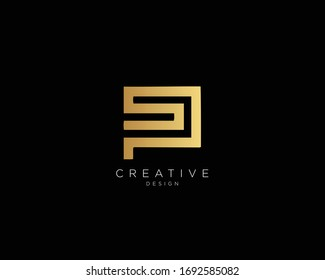 Letter SP PS Logo Design, Creative Minimal SP PS Monogram In Gold Color