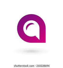 Letter A speech bubble logo icon design template elements. Vector color sign.