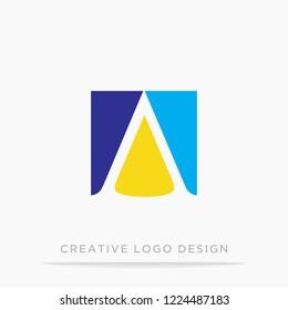 letter A square and traingle logo design template