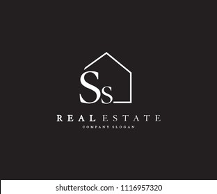 Letter SS Line House Real Estate Logo