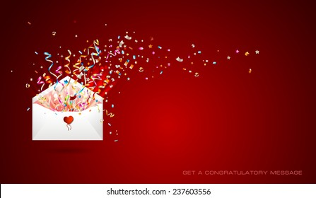 Letter with surprise  on red background. Open envelope with confetti and ribbons. Congratulations on holiday. Border design