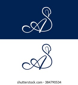 A letter swan vector logo (sign, symbol, icon)