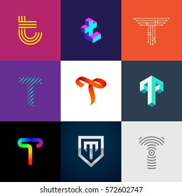 "Letter ""T"" big logo pack. Creative vector monograms. Striped, ribbon, colorful, isometric, linear, 3d logos.Eps10 format."