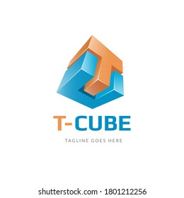 Letter T and C Abstract Cube Logo - TC Letter Icon - 3D Colorful Monogram - Initial CT Vector - Realistic Symbol Illustration