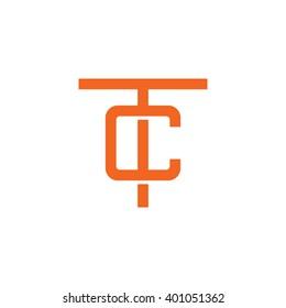 letter T and C monogram logo orange