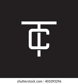 letter T and C monogram logo white black background
