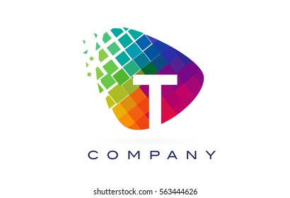 Letter T Colorful Logo. Rainbow T Letter Icon with Shattered Blocks.