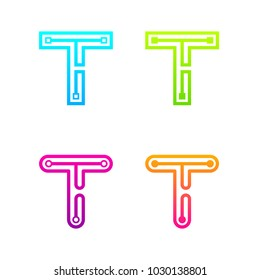 Letter T Colorful logotype with Three Line Dots Link, Square and Circle shape Maze Labyrinth, Technology and Digital Connection concept for your Corporate identity