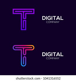 Letter T Colorful logotype with Three Line, Square and Circle shape Maze Labyrinth, Technology and Digital Connection Link concept for your Corporate identity