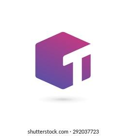Letter T cube logo icon design template elements