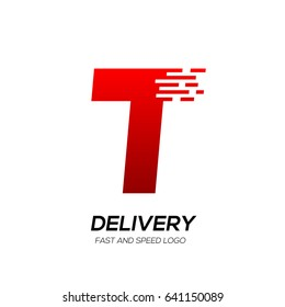 Letter T with Delivery service logo, Fast Speed, Moving and Quick, Digital and Technology for your Corporate identity