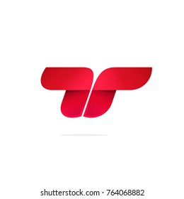 Letter t or double r logo vector concept, red color gradient modern logotype design, idea of abstract bull with horns brand symbol, geometric elegant element design isolated on white background