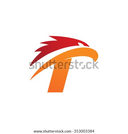 letter T eagle head red orange logo
