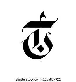 Letter T, in the Gothic style. Vector. Alphabet. The symbol is isolated on a white background. Calligraphy and lettering. Medieval Latin letter. Logo for the company. Monogram. Elegant font for tattoo