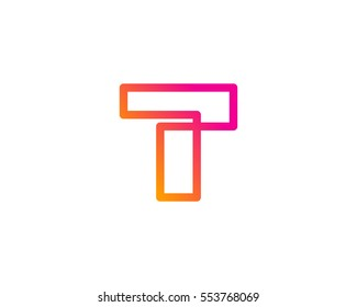 Letter T Infinity Line Logo Design Element