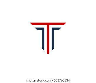 Letter T Line Logo Design Element