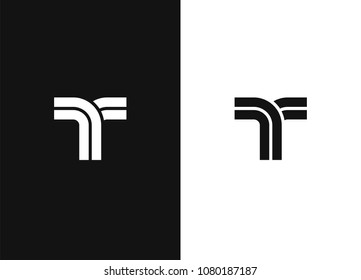 Letter T logo design template. T monogram. Line vector symbol. Abstract image of the road. Icon design template element. Black white version.