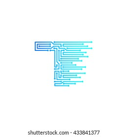 Letter T logo design template,technology,electronics,digital,logotype