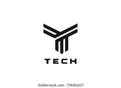 Letter T Logo design vector template Linear style. Luxury Fashion Technology Finance Typeface Logotype. Font concept icon.