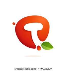 Letter T logo in fresh juice splash with green leaves. Vector elements for natural application, ecology presentation, business card or cafe posters.
