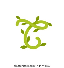 Letter T logo with green leaves. Green vector design for banner, presentation, web page, app icon, card, labels or posters.