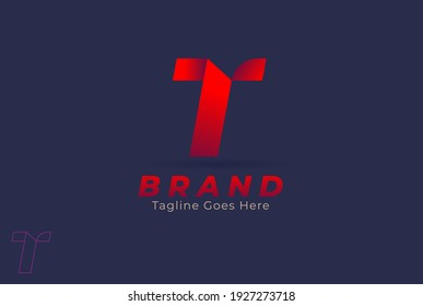 Letter T logo, monogram letter T, simple stylish, easy to recognize and versatile, design logo template, vector illustration
