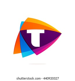 Letter T logo in Play button icon. Triangle intersection icon. Colorful vector design for app icon, corporate identity, card, labels or posters.