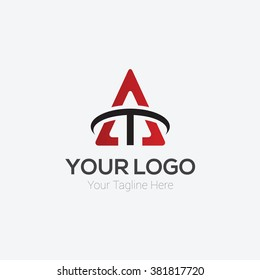 Letter A and T Logo Template Design Vector