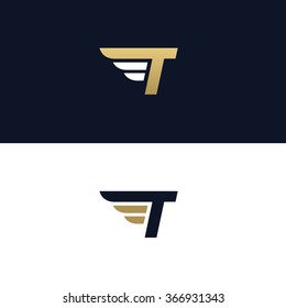 Letter T logo template. Wings design element vector illustration. Corporate branding identity