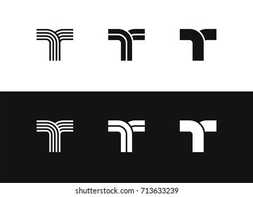 Letter T logo vector set design. Black and white vector illustration, editable icons for your design.
