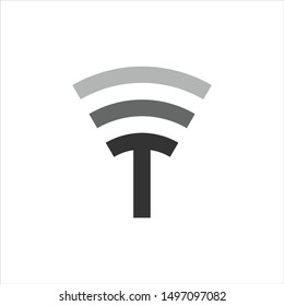 Letter T Logo. Wifi Symbol. Icon Vector Eps 10.