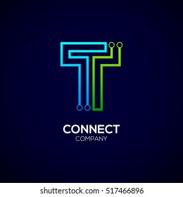 Letter T logotype green and blue color,Technology and digital abstract dot connection vector logo